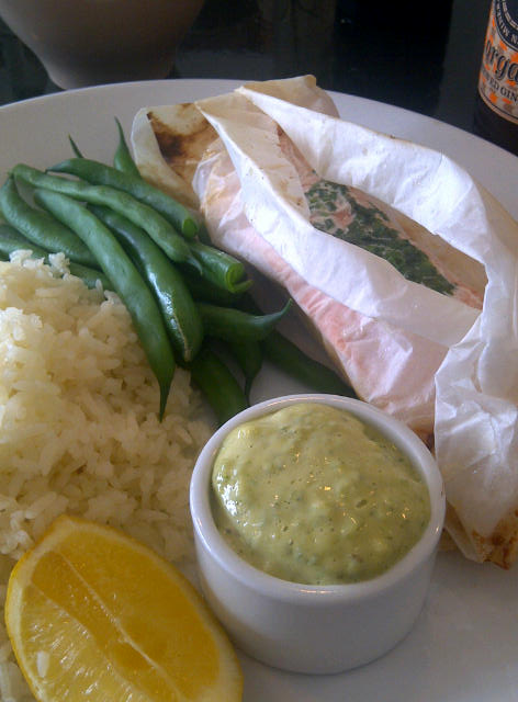 Baked salmon fillet with rice pilaf