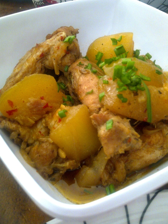 Chicken ribs with sponge luffa